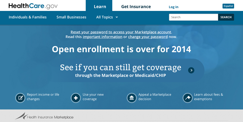 The healthcare.gov homepage. Credit: Screenshot.