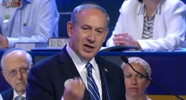 Israeli Prime Minister Benjamin Netanyahu speaks at the 2014 International Youth Bible Contest finals. Credit: Wikimedia Commons.
