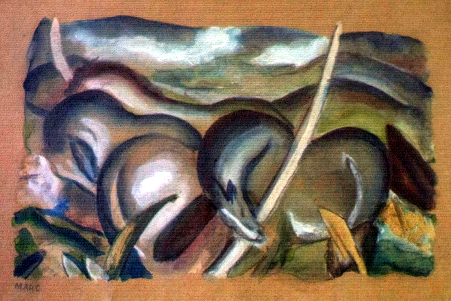 Franz Marc's Pferde in Landschaft, one of the artworks discovered in Munich in 2012. Credit: Wikimedia Commons.
