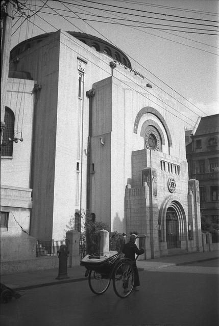 Click photo to download. Caption: Beth Aharon Synagogue in Shanghai, built in 1927 by Sir Elias Hardoon. The synagogue was torn town in 1986 and replaced by a high-rise building. Credit: Courtesy Liliane Willens.