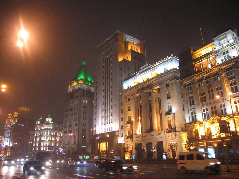 Click photo to download. Caption: Shanghai's famous Bund district, where most of the buildings were built and owned by wealthy Sephardic Jewish families. Credit: Anthony Hartman via Wikimedia Commons.