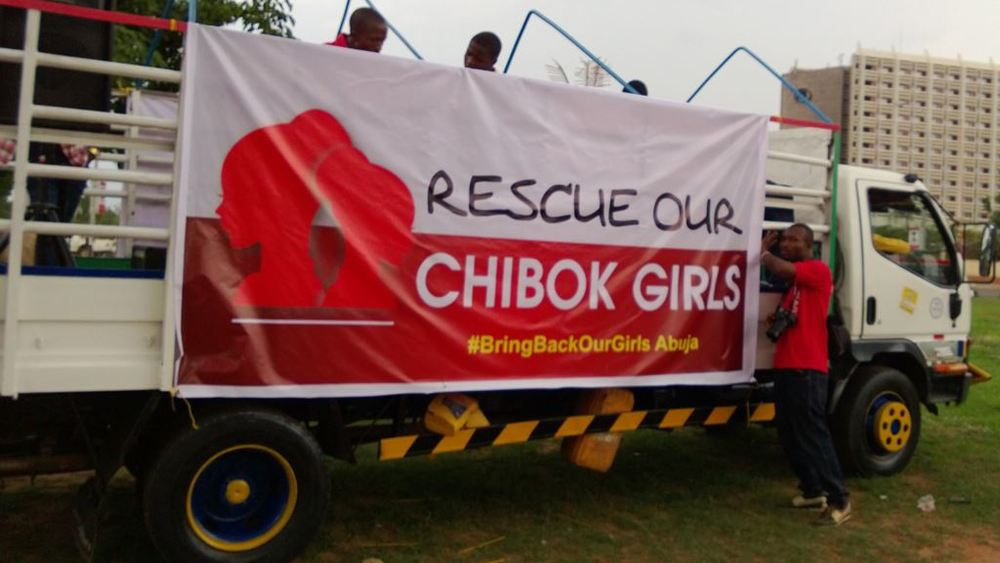 A truck promotes the #BringBackOurGirls hash tag used by protesters of the kidnappings in Nigeria committed by the terrorist group Boko Haram. Credit: Medina Dauda via Wikimedia Commons.