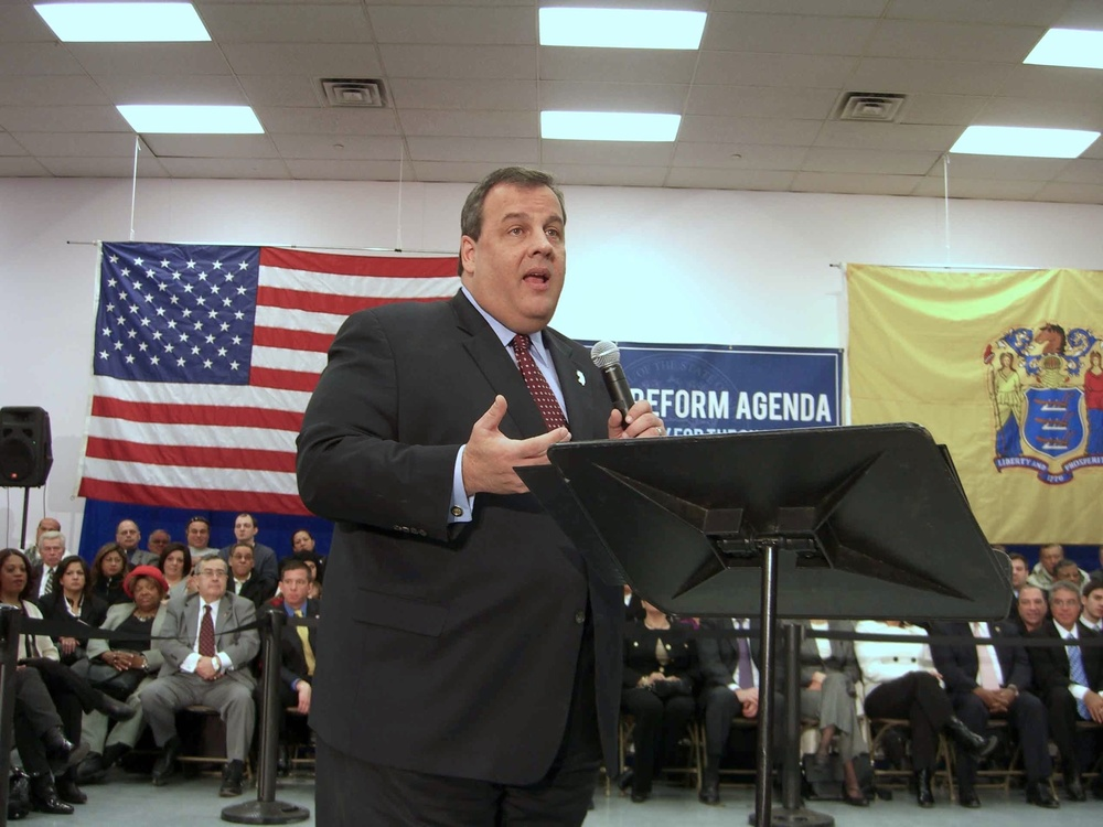 Click photo to download. Caption: New Jersey Governor Chris Christie speaks at a town hall meeting in Union City, New Jersey, on February 9, 2011. Credit: Luigi Novi via Wikimedia Commons.