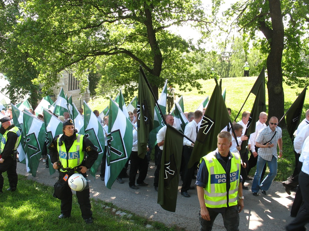 Click photo to download. Caption: Members of the Swedish Resistance Movement, a neo-Nazi organization, take part in a nationalist demonstration in Stockholm in June 2007. Some experts have questioned the recent Anti-Defamation League survey's finding of a low level of anti-Semitism in Sweden. Credit: Peter Isotalo via Wikimedia Commons.