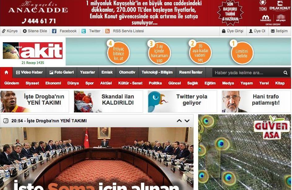 Website of the Turkish newspaper Yeni Akit. Credit: Screenshot.