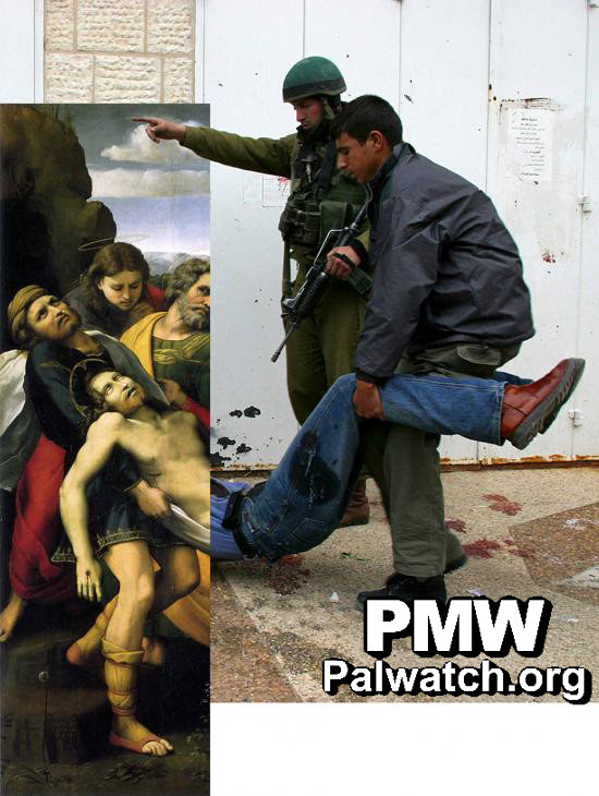 "The Palestinian-modified version of Raphael's ""The Deposition."" Credit: Palestinian Media Watch."