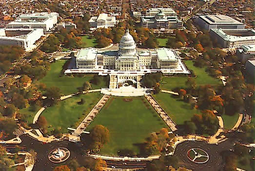 An aerial view of Capitol Hill. Credit: Wikimedia Commons.