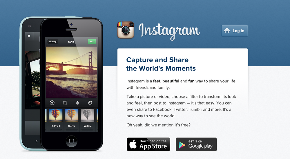 The Instagram homepage. Credit: Wikimedia Commons.