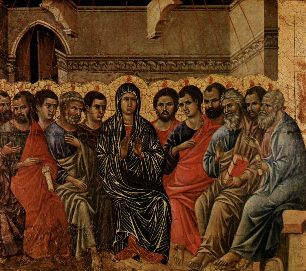 Click photo to download. Caption: A typical Western image of the Pentecost, by Duccio di Buoninsegna. Credit: Directmedia Publishing GmbH via Wikimedia Commons.