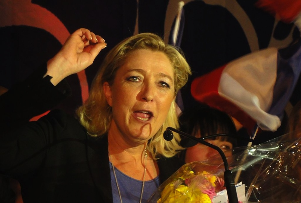 Click photo to download. Caption: Marine Le Pen, leader of France's right-wing National Front political party. Le Pen has tried to distance herself from the extremism and anti-Semitism of Jean-Marie Le Pen, her father and the party's founder. Credit: Jérémy Jännick via Wikimedia Commons.