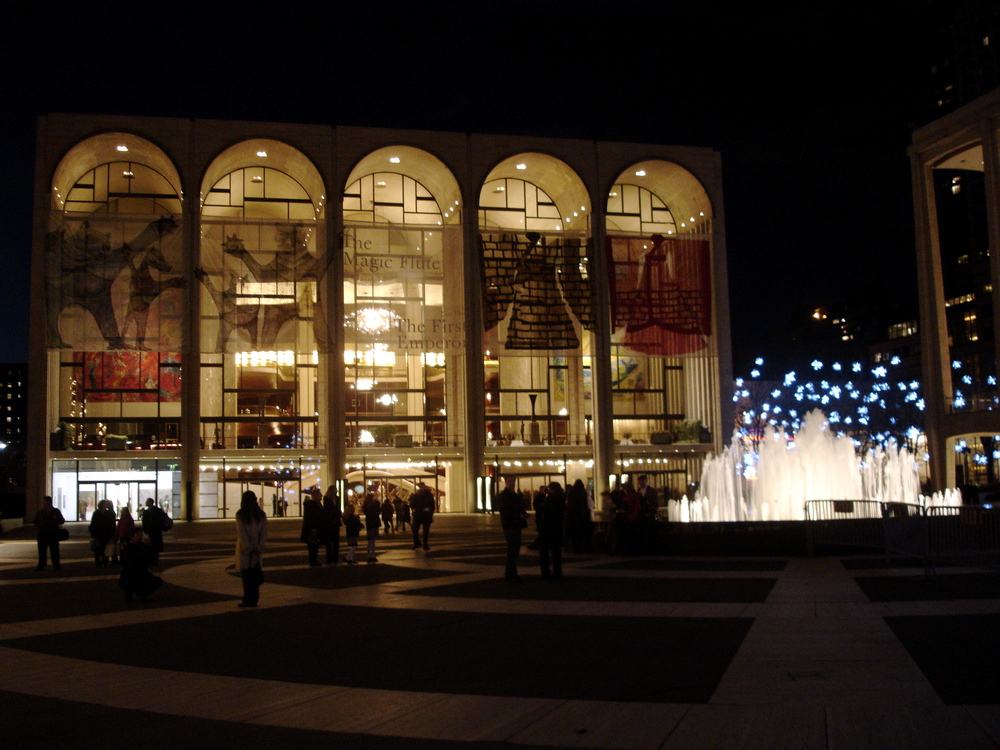 Click photo to download. Caption: Outside the New York Metropolitan OperaHouse at Lincoln Center in New York City. Credit: Wikimedia Commons.