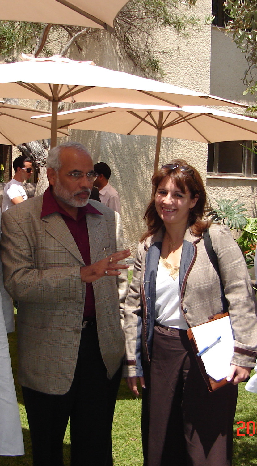 Click photo to download. Caption: Anat Bernstein-Reich, president of the Israel-India Friendship Association and vice president of the Israel-Asia Chamber of Commerce, with Narendra Modi in Israel in 2007. Modi is now India's newly elected prime minister. Credit: Courtesy of Anat Bernstein-Reich.