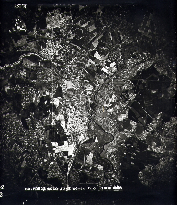 Click photo to download. Caption: Anaerial surveillance photo that U.S. pilots took over Auschwitz in 1944. Credit: Courtesy ofthe David S. Wyman Institute for Holocaust Studies.