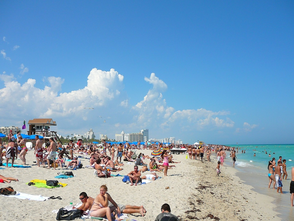 Click photo to download. Caption: South Beach, Miami.Rather than the partying/nightlife destination it is known as today, South Beach used to be a prime spot for Jewish seniors. Credit:Marc Averette via Wikimedia Commons.