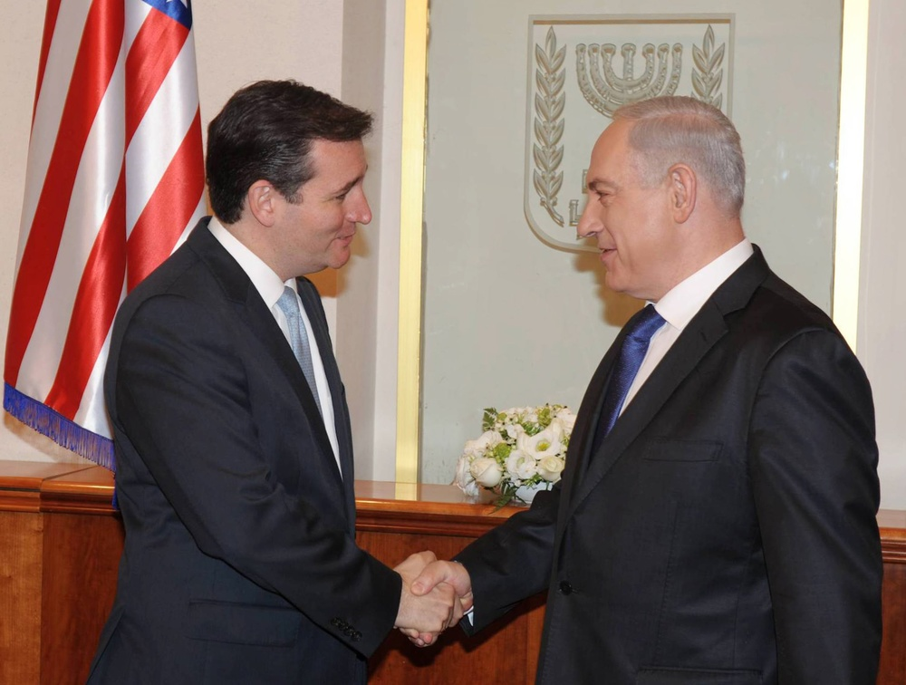 Click photo to download. Caption: Israeli Prime Minister Benjamin Netanyahu (right) meets with U.S. Sen. Ted Cruz (R-TX) at Netanyahu's office in Jerusalem on December 17, 2012. Credit: Amos Ben Gershom/GPO/Flash90.