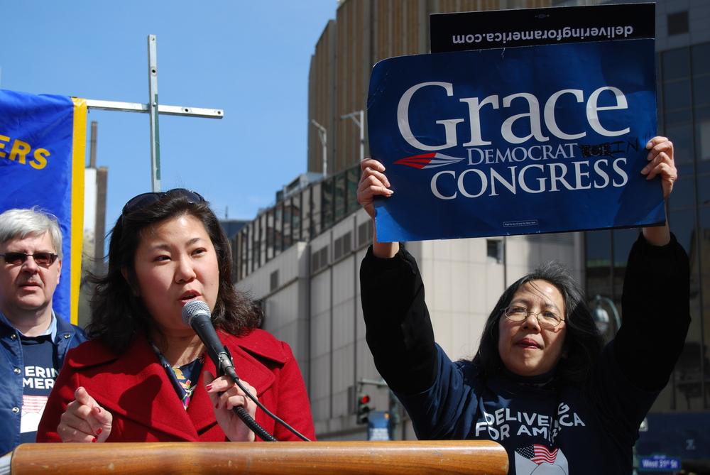 Click photo to download. Caption: U.S. Rep. Grace Meng (D-NY) speaks at a rally organized by the National Association of Letter Carriers in March 2013. Credit: Thomas Altfather Good via Wikimedia Commons.