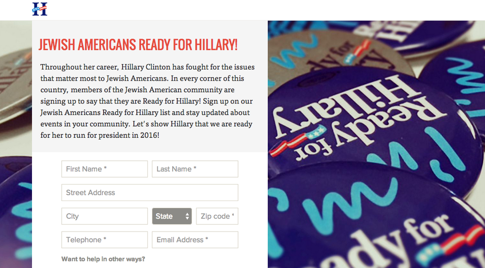 "The ""Jewish Americans Ready for Hillary"" website. Credit: Jewish Americans Ready for Hillary."