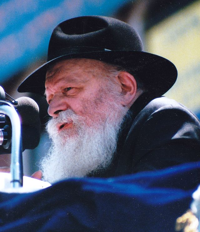 Click photo to download. Caption: Rabbi Menachem Mendel Schneerson in Brooklyn in May 1987. Credit: Mordecai Baron via Wikimedia Commons.