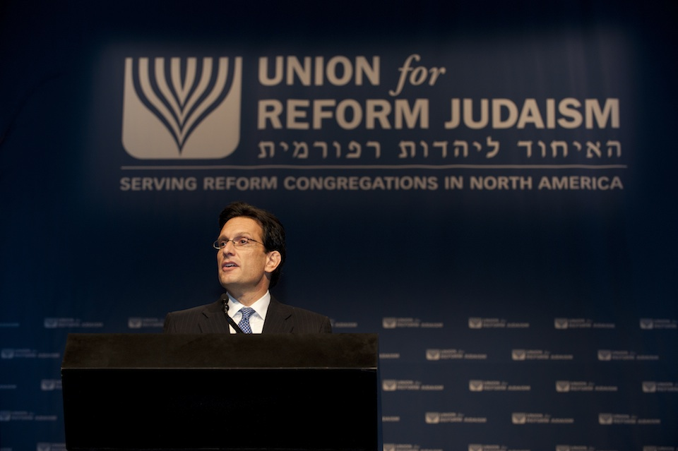 Click photo to download. Caption: U.S. Rep. Eric Cantor (R-Va.) speaks at the 2011 Union for Reform Judaism biennial convention. Credit: Courtesy Union for Reform Judaism.
