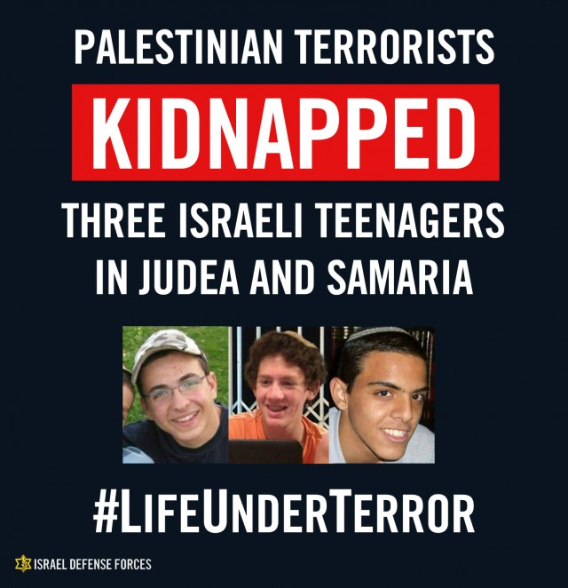 Kidnapped Israeli teens Naftali Frenkel, 16, Gilad Shaar, 16,  Eyal Yifrach, 19. Credit: IDF Spokesperson Unit