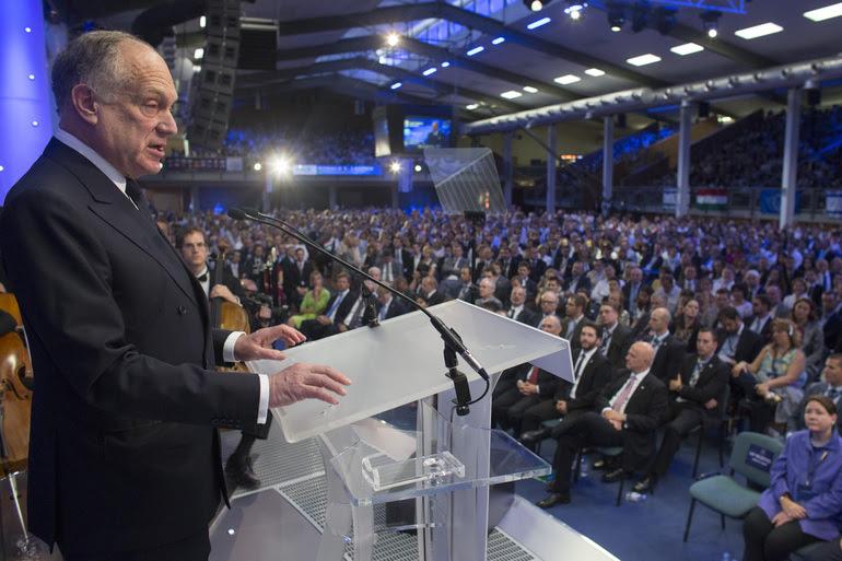 World Jewish Congress President Ronald Lauder speaking at the Israeli Allies European Summit in Budapest. Credit: World Jewish Congress.