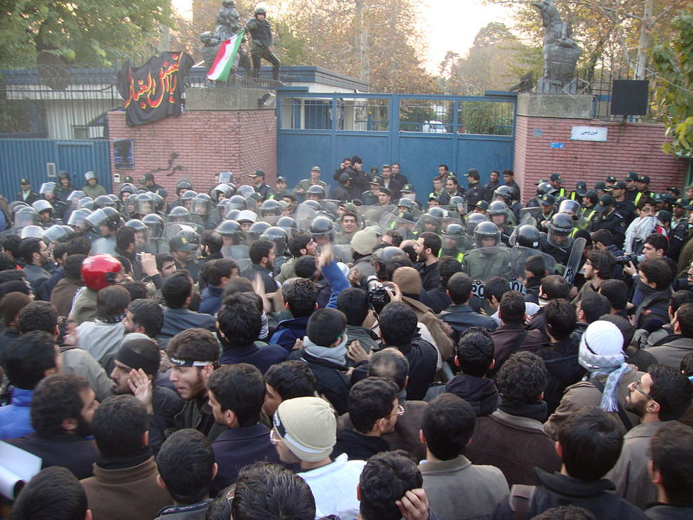 Iranian protesters upset over Western-imposed sanctions, stormed the British embassy in 2011, forcing its closure. Credit: Wikimedia Commons.