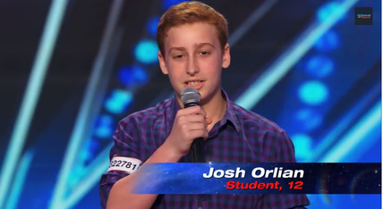 12-year-old Josh Orlian on America's Got Talent. Credit: YouTube screenshot.