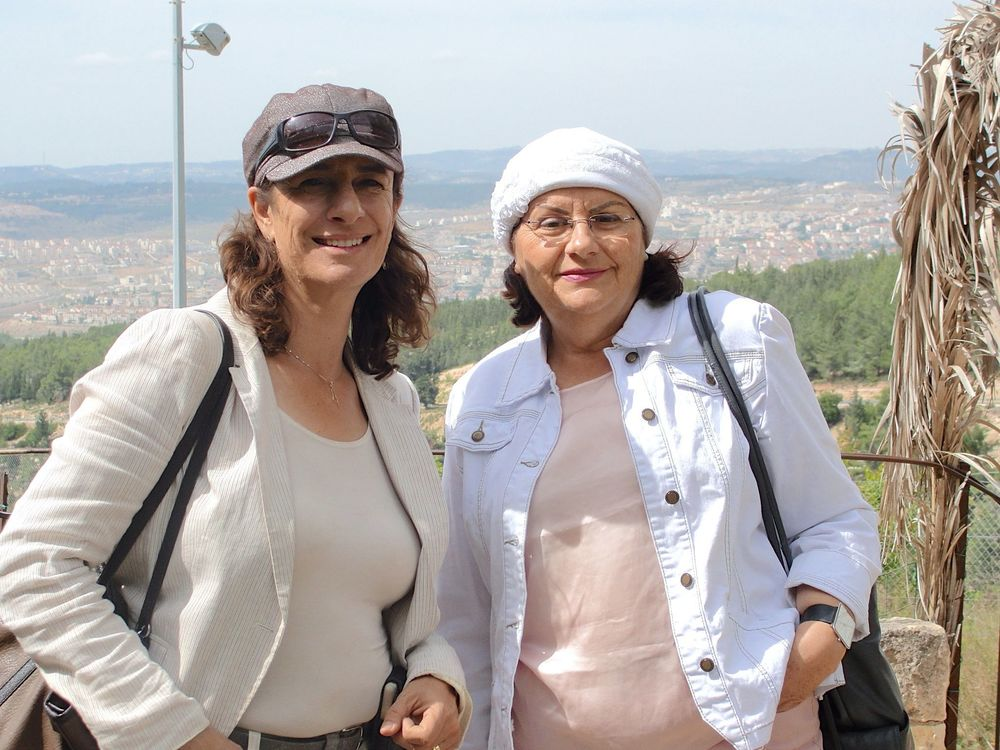 Click photo to download. Caption: Nadia Matar (left) and Yehudit Katsover, co-chairs of Women in Green. Credit: Judy Lash Balint.