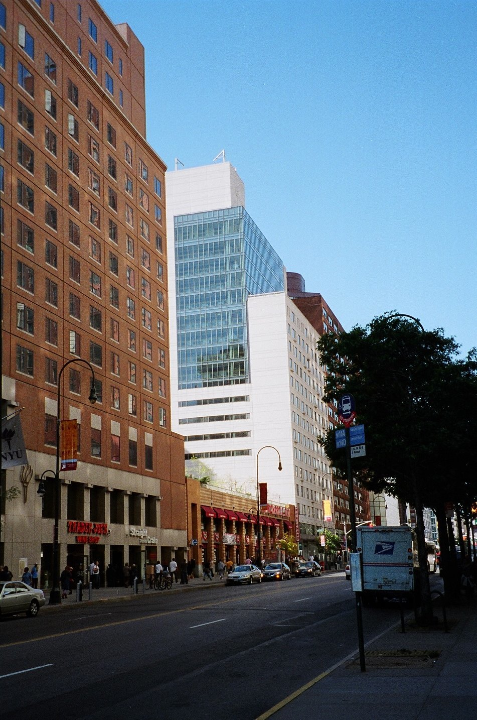 Click photo to download. Caption: On the left is Palladium Hall, a New York University (NYU) dorm that many Jewish students choose to live in, and one of two NYU dorms that saw the posting of anti-Israel mock eviction notices in April. Credit: Eden, Janine and Jim via Wikimedia Commons.