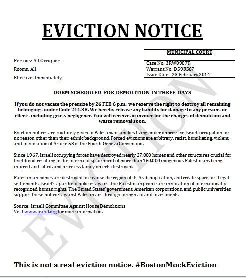 Click photo to download. Caption: An anti-Israel mock eviction notice that was posted on student dorms at Northeastern University. Credit: Israeli Committee Against House Demolitions.