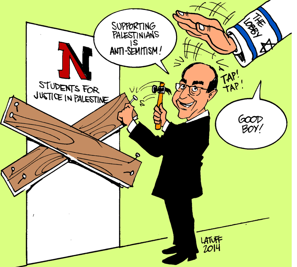 "Click photo to download. Caption: A cartoon posted on the Facebook page of Northeastern University's Students for Justice in Palestine chapter—which was suspended for violations including mock eviction notices, but was then reinstated—depicts University President Joseph Aoun nailing boards on the door of the student group. Mirroring the conspiracy theory that Israel controls American foreign policy, the cartoon features a disembodied arm from the sky—with a Star of David and ""The Lobby"" written on its sleeve—patting Aoun on the head. Credit: Northeastern SJP Facebook page."