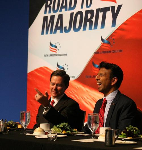 Click photo download. Caption:  Ralph Reed (left), the Faith and Freedom Coalition's chairman, and Gov. Bobby Jindal of Louisiana at the coalition's Road to Majority 2014 conference. Credit: Faith and Freedom Coalition Facebook page.