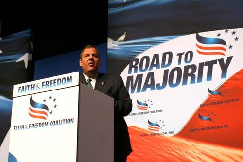 Click photo to download. Caption: New Jersey Gov. Chris Christie speaks at the Faith and Freedom Coalition's Road to Majority 2014 conference. Credit: Faith and Freedom Coalition Facebook page.