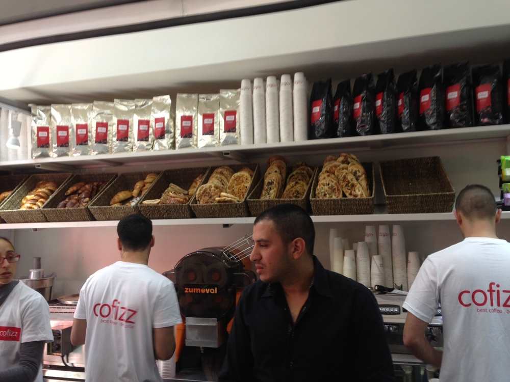 Click photo to download. Caption: Inside Cofizz on Ben Yehuda Street in Jerusalem. Credit: Cofizz.