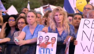 Sunday's rally for the kidnapped Israel teens in Tel Aviv's Rabin Square. Credit: Israel Hayom video screenshot.