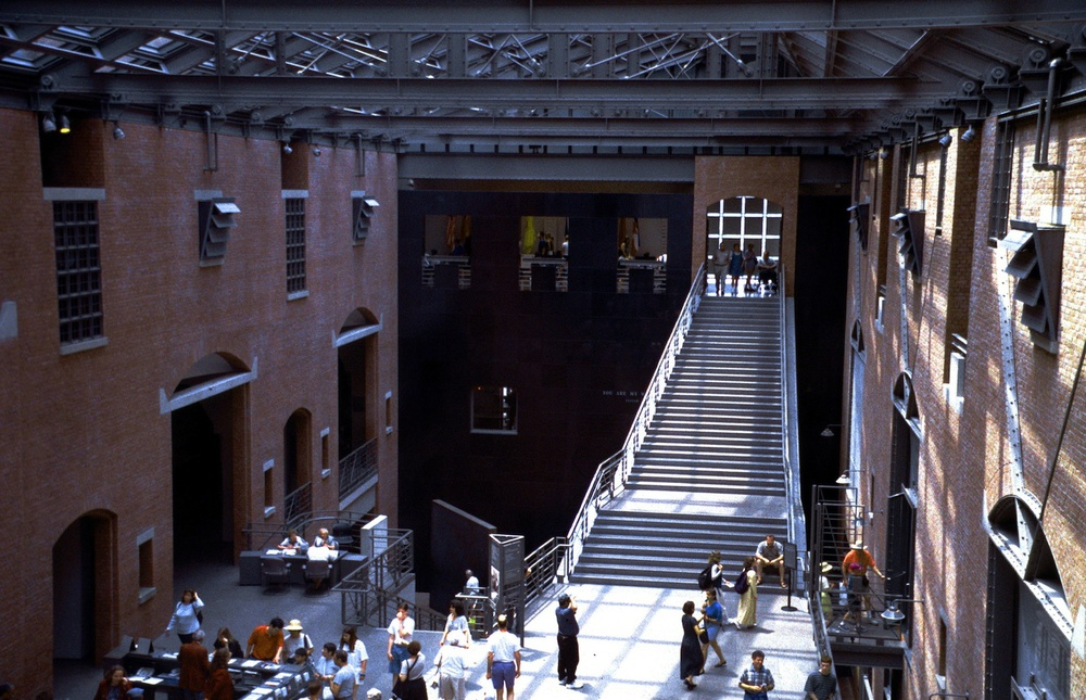 Click photo to download. Caption: The Hall of Witness at the U.S. Holocaust Memorial Museum in Washington, DC. Credit: Alan Gilbert, courtesy of USHMM Photo Archives.
