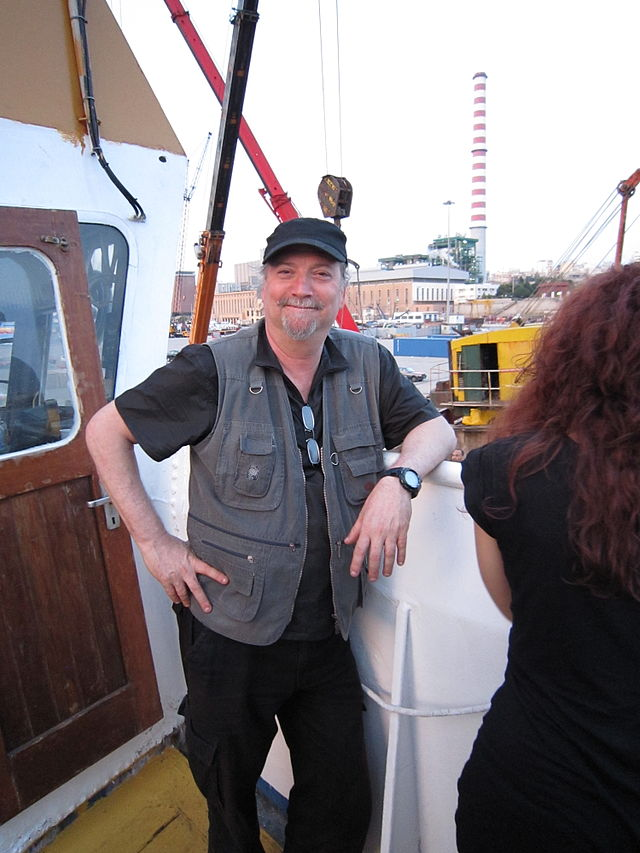 Dror Feiler on board MS Sofia in May 2010, en route to the Gaza Strip. Credit: Pieter Kuiper via Wikimedia Commons.