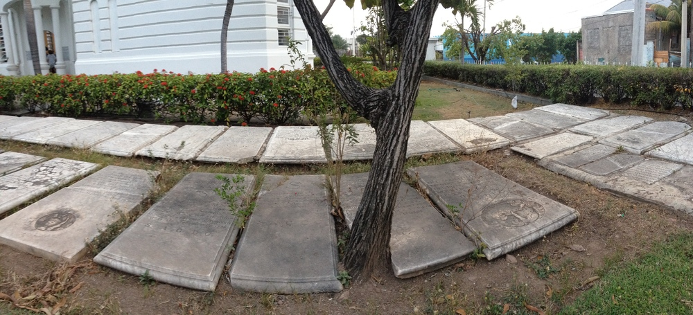 Click photo to download. Caption: Pictured are headstones recovered from lost Jewish cemeteries that were relocated to the front of Jamaica's only active synagogue, Shaare Shalom in Kingston. Credit: Maayan Jaffe.