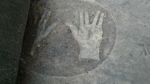 Click photo to download. Caption: The newest Jewish cemetery discovered in Jamaica is in the town of Black River. Here, one graver maker, belonging to Hyman Cohen, has a pair of hands making the symbol of the kohen (Jewish high priest). Credit: Nicole Ryan.
