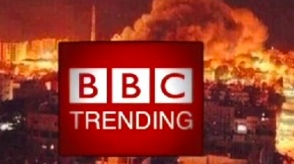 A screenshot of the BBC Trending video investigation into pictures shared under the #GazaUnderAttack hashtag. Credit: Screenshot of BBC Trending video.