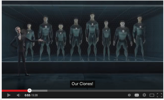 "A screenshot of Nike's animated ad ""The Last Game."" In this still shot, the evil clones' logos resemble the Jewish Star of David. Credit: YouTube screenshot."