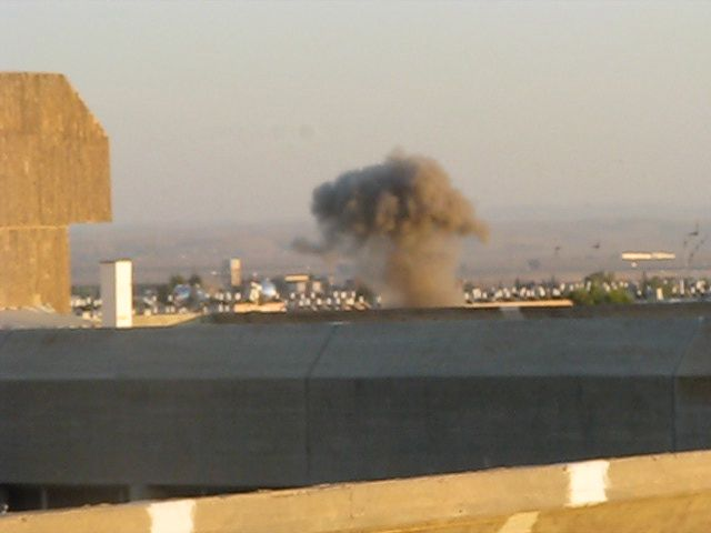 A rocket hits Beersheba during the 2008-2009 Israel-Gaza conflict. More than 200 rockets have been fired from Gaza at Israel in the current escalation of the conflict in the region. Credit: Wikimedia Commons.