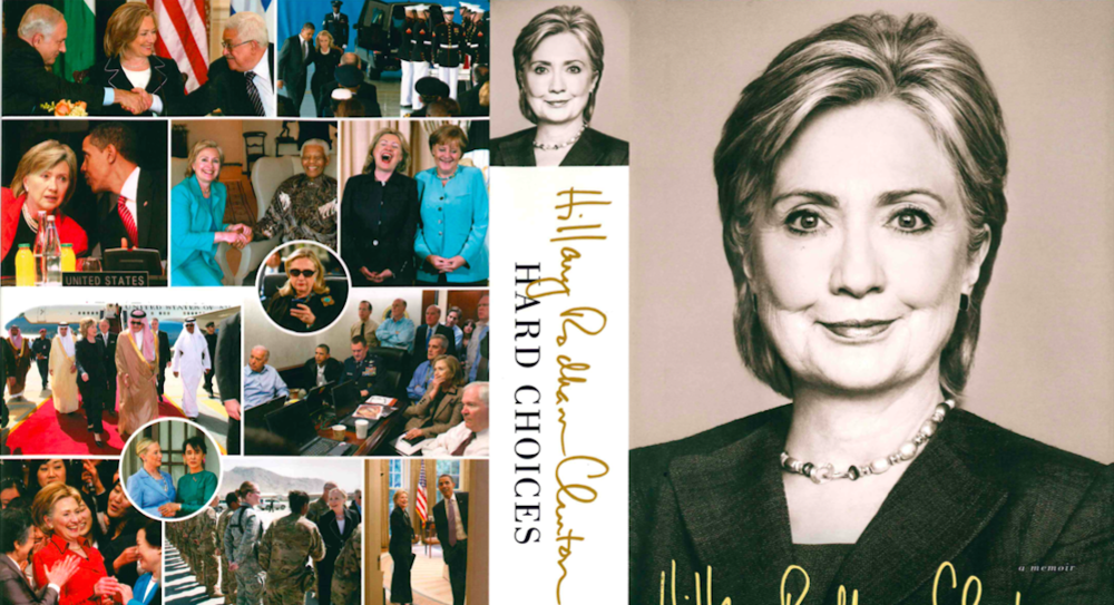 "Click photo to download. Caption: The front and back cover of Hillary Clinton's new memoir, ""Hard Choices."" Credit: Simon & Schuster."