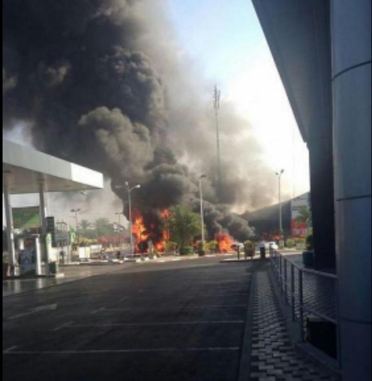 Ashdod gas station up in flames after rocket strike. Credit: Twitter.