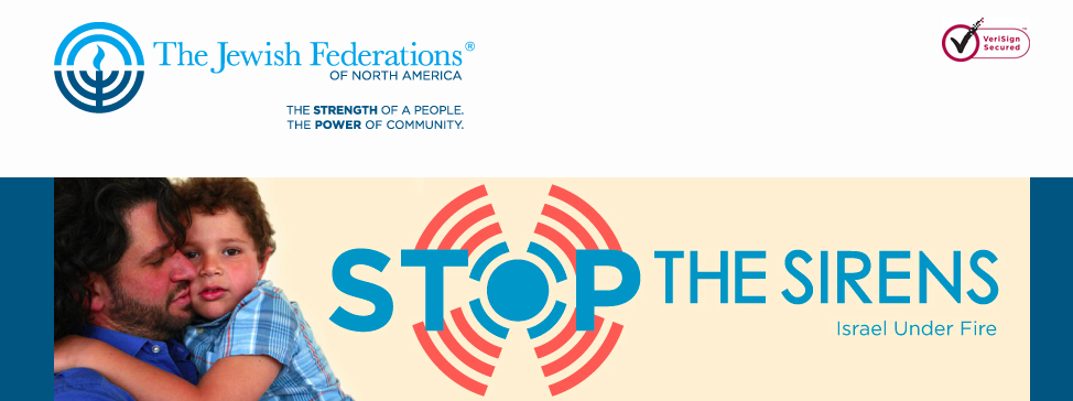 "The webpage of the Jewish Federations of North America (JFNA) ""Stop the Sirens"" campaign to raise funds for Israeli communities facing rocket attacks. Credit: JFNA."