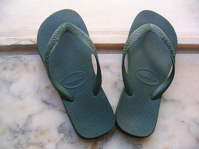 Click photo to download. Caption: Flip-flops (pictured) are a popular footwear choice on the Jewish fast days of Tisha B'Av and Yom Kippur due to an injunction against wearing leather shoes. Muriel Gottrop via Wikimedia Commons.