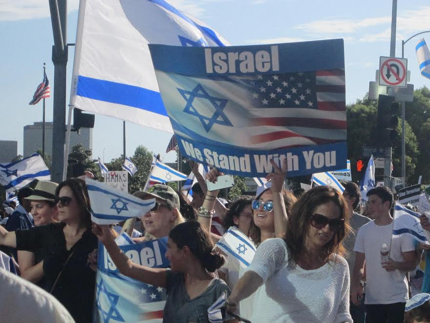 The pro-Israel solidarity rally in West Los Angeles on Sunday. Credit: StandWithUs.