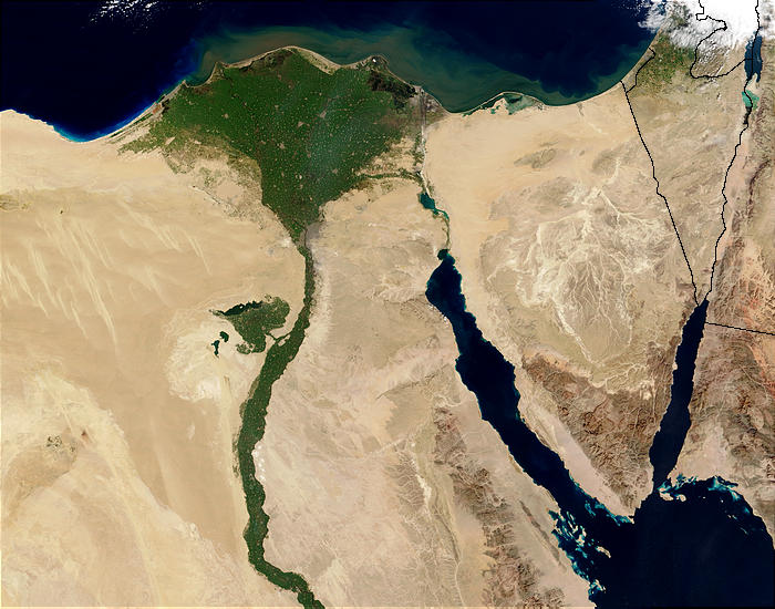 Satellite view of the Egypt's Sinai region, bordering on Israel in the Northeast. Credit: Wikimedia Commons.