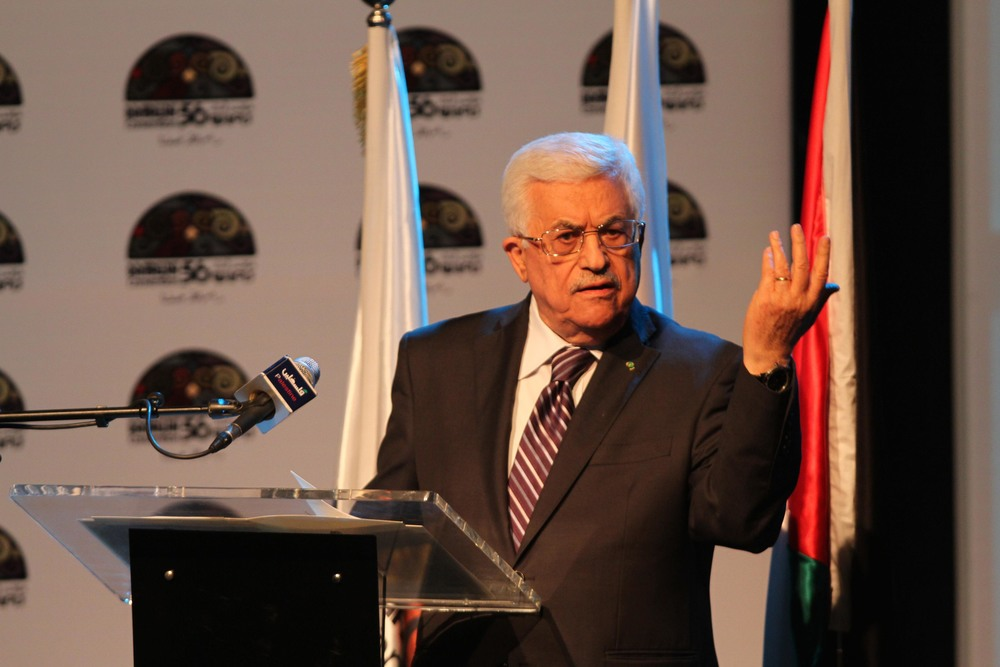 Click photo to download. Caption: Palestinian Authority President Mahmoud Abbas gestures as he speaks during a conference in Ramallah on June 19, 2014. Credit: Issam Rimawi/Flash90.