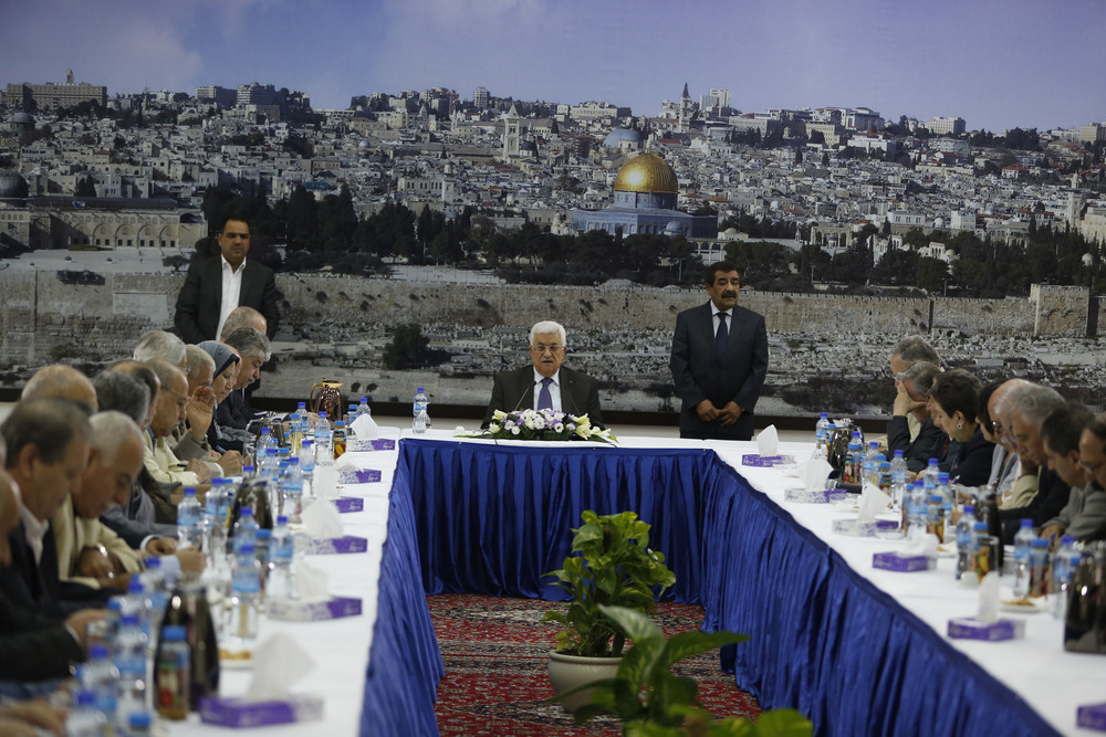 Click photo to download. Caption: Palestinian Authority President Mahmud Abbas (center) speaks during an emergency meeting with his leadership in Ramallah on July 1, 2014, after Israel found the dead bodies of the three kidnapped Jewish teens. Credit: Issam Rimawi/Flash90.